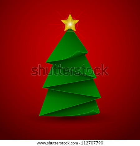 Red background with Christmas tree, illustration.