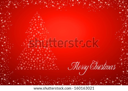 Red background with christmas tree, illustration