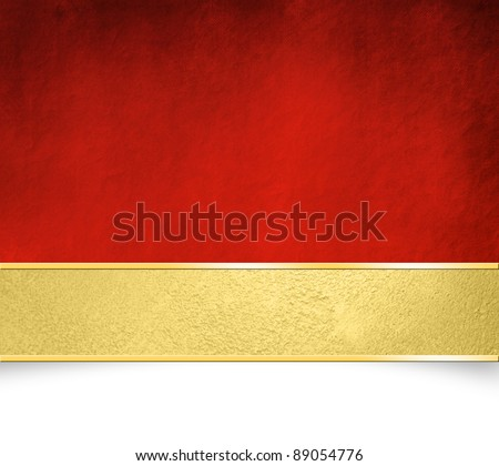Red background with gold banner - abstract Christmas paper texture
