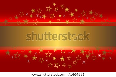 Red background with golden banner and stars. The similar image in my portfolio in vector format.