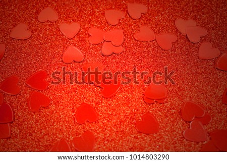 Red background with hearts stock images. Red hearts background. Red Valentine Day glitter background #1014803290