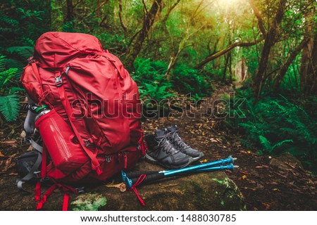 Red backpack, hiking boots, water bottle, hiking poles and supplies for hiker are placed on a large rock in lush rain forest path of Tasmania, Australia. Trekking camping and hiking adventure concept. Stock photo ©