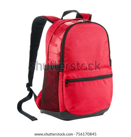 Red Backpack Isolated on White Background. Side View of Red School Backpack with Zippered Compartment. Pocket Backpack with Shoulder Straps and Haul Loop at the Top. Travel Daypack