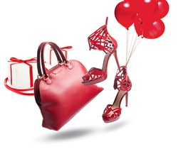 red bag and shoes are flying
