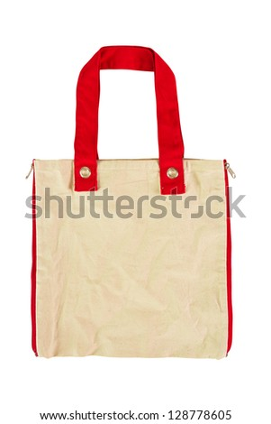 Red bag to reduce global warming. - stock photo