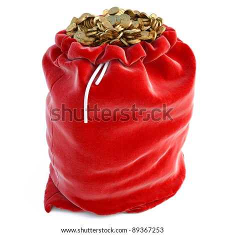 red bags full of golden coins. isolated on white.