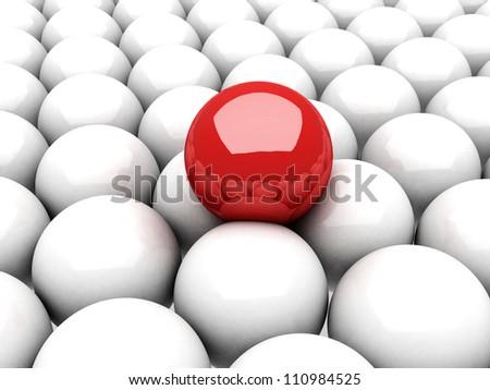 red ball leader on many white balls