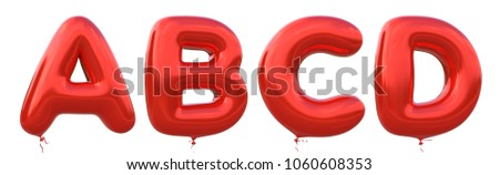 Red balloon font A,B,C,D made of realistic metallic air balloon 3d rendering. Collection of brilliant balloons alphabet with Clipping path ready to use for your unique decoration in several occasion