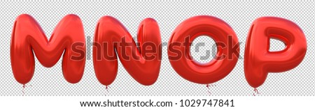 Red balloon font M,N,O,P made of realistic metallic air balloon 3d rendering. Collection of brilliant balloons alphabet with Clipping path ready to use for your unique decoration in several occasion