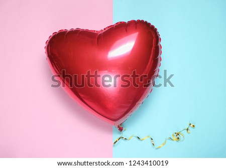 Red balloon heart on pastel background. Valentine's Day #1243410019
