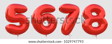 Red balloon 5, 6, 7, 8 made of realistic metallic air balloon 3d rendering. Collection of brilliant balloons number with Clipping path ready to use for your unique decoration in several concept idea.