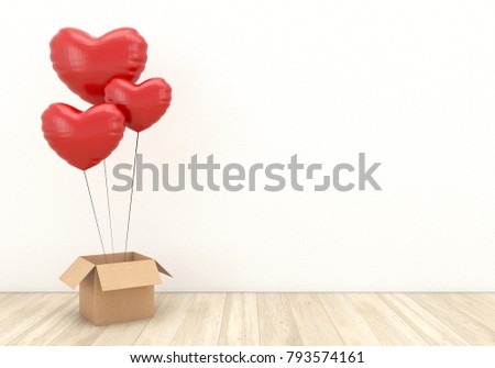 Red balloons in heart shape floating and open box with wooden floor on white wall background.Image mock up for advertising of Valentine's day greeting and love in 3d rendering,3d illustration.