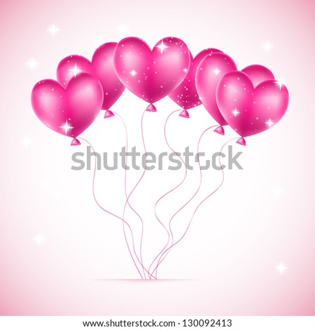 red balloons made of hearts background