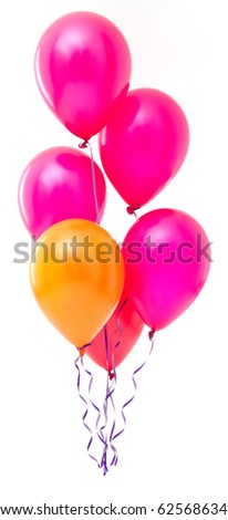 Red balloons on white background