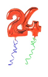 Red balloons with ribbon - Number 24