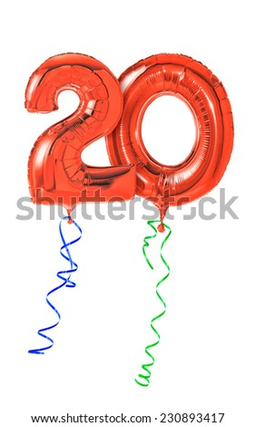Red balloons with ribbon - Number 20 #230893417