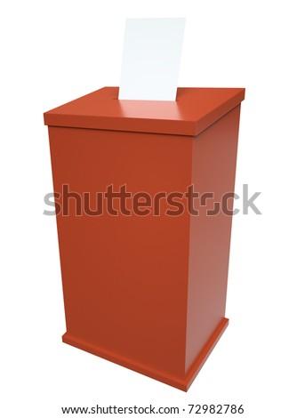 Red ballot box. 3D render.