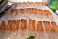 red banded lobster also called ddak shrimp served raw on ice.