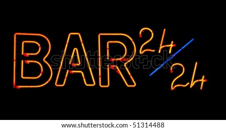 Red bar  neon sign on black background