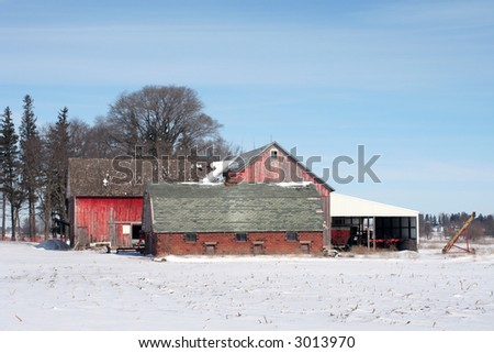 Red barn and hog house were common features of farms in the early part of the 20th century