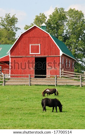 Red barn and two ponies