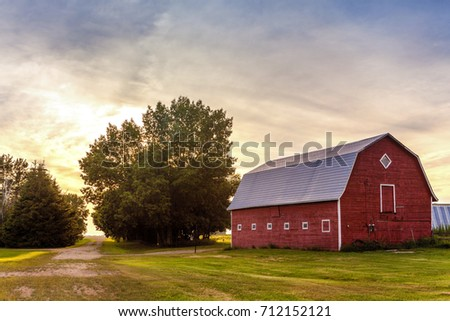 Red Barn at Sunset #712152121