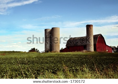 Red Barn In Field - stock photo
