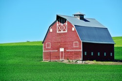 Red barn in the wheat fields of the Palouse region, WA-USA