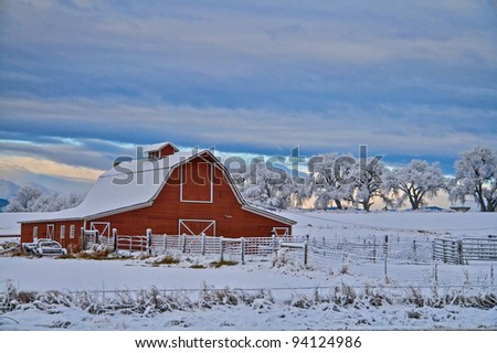 Red Barn with a Morning Snow
