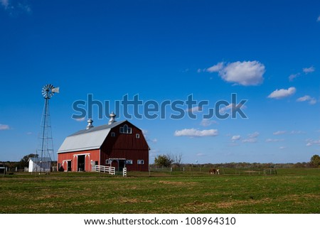 Red barn with clear blue sky
