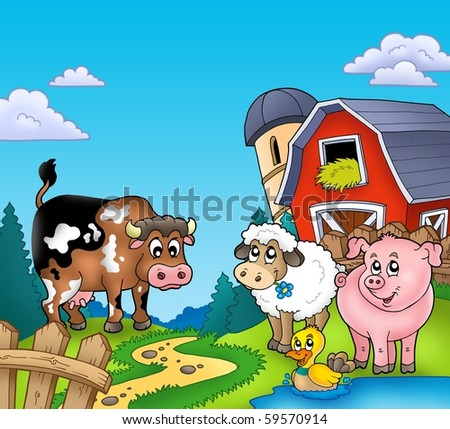 Red barn with farm animals - color illustration.
