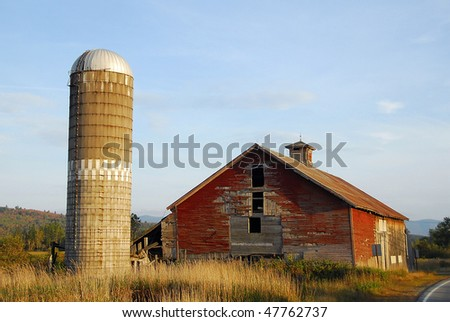 Red Barn with Grain Silo