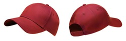 Red baseball cap in angles view front and back. Mockup baseball cap for your design