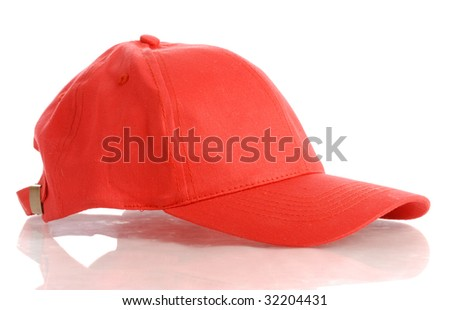 red baseball cap or hat isolated on white background