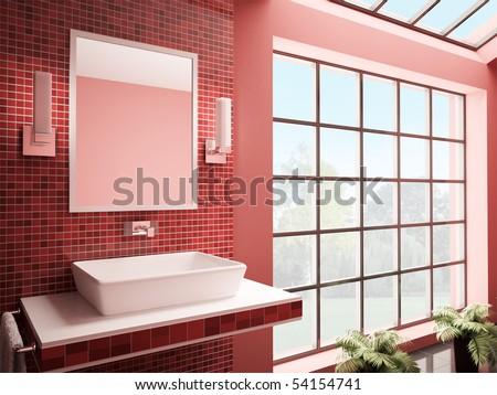 Red bathroom with big window interior 3d render