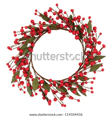 Red bauble christmas wreath over white background.