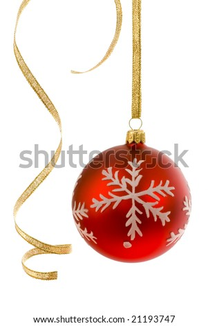 Red bauble on white, accompanied by some curly golden ribbon