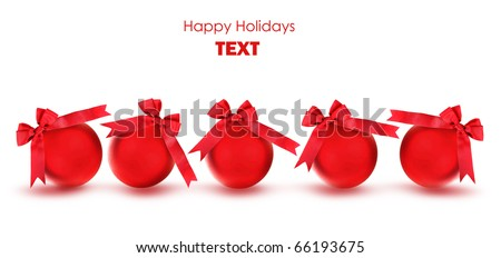 Red baubles with bows, Christmas tree ornaments and holiday decorations isolated on white background