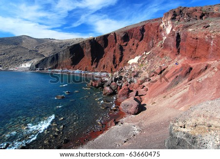 Red Beach is one of the most beautiful and famous beaches of Santorini, Greece