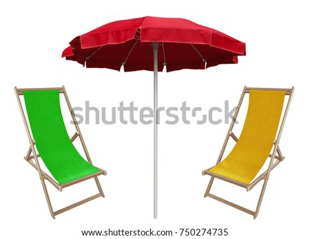 Red beach umbrella and deckchairs isolated on white