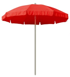Red beach umbrella isolated on white. Clipping path included.