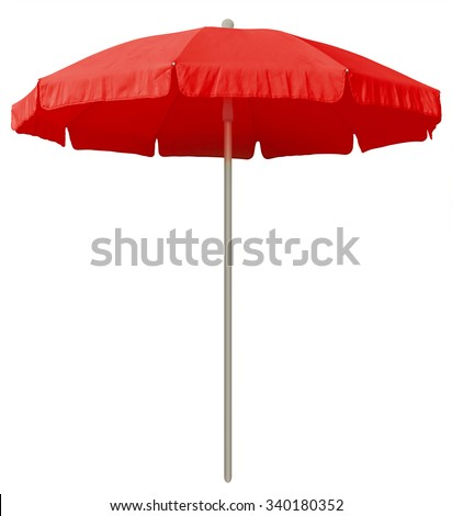 Red beach umbrella isolated on white. Clipping path included. #340180352