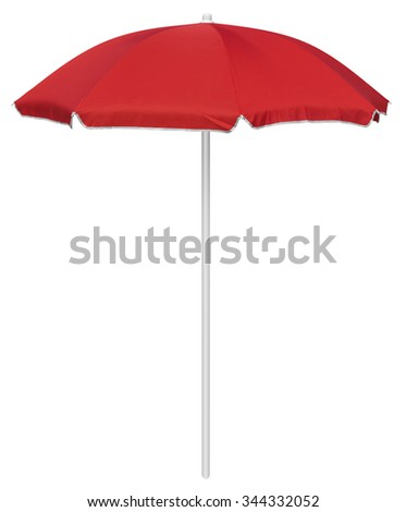 Red beach umbrella isolated on white. Clipping path included. #344332052
