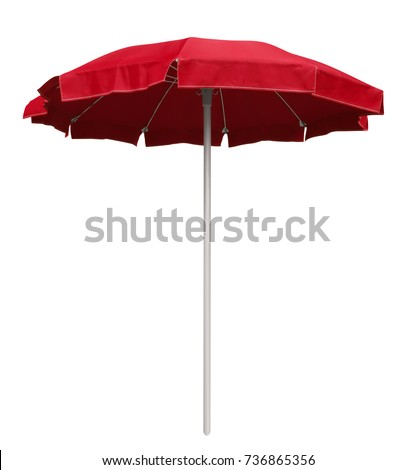 Red beach umbrella isolated on white. Clipping path included. #736865356
