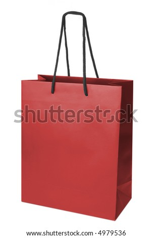 Red beamless paper-bag with cords.