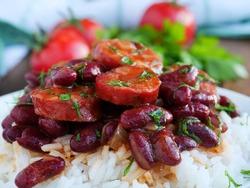 Red beans and rice with sausage cajun food, closeup