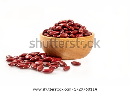 Red beans in wooden bowl isolated on white background. Photo stock ©