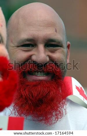 Red Bearded man at a parade