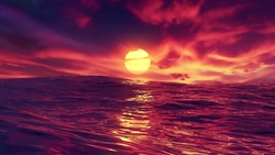 Red beautiful sunset over ocean. The glowing sun shines on dusk with water swells and light reflections. Red sky and amazing sea with waves. Summer sunrise seascape in 4K