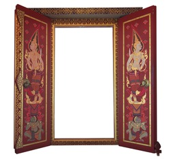 Red beautiful Thai temple gate